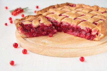 Piece of red currants pie