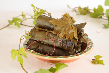 Salted and fresh grape leaves