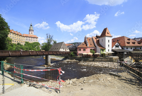 Beautiful summer landscape of the historical center of Cesky Kru