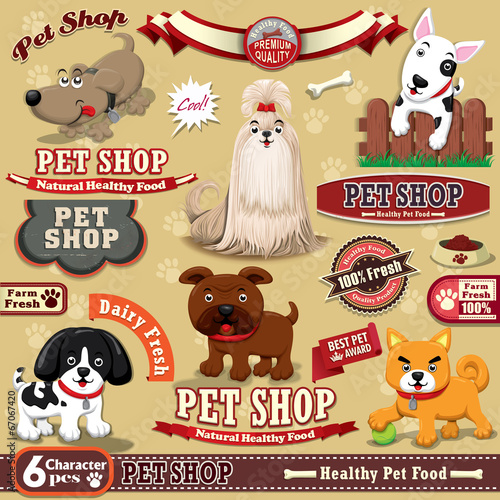 Vintage Pet shop poster design element