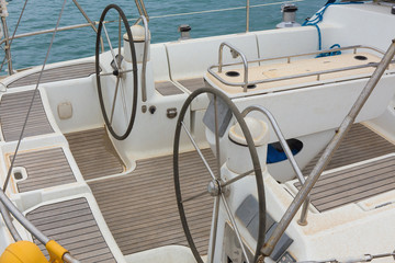 steering equipment at sea yacht