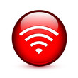 Red wifi or wireless glossy button