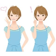 女性 主婦 表情 セット