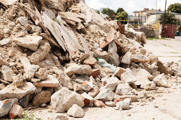 Debris, garbage bricks and material from building