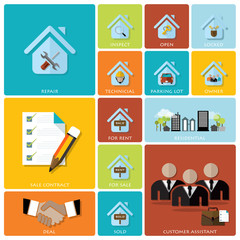 Business And Real Estate Flat Icon Set