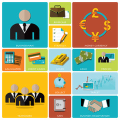 Business And Financial Flat Icon Set