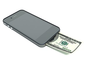 Smart phone with dollars