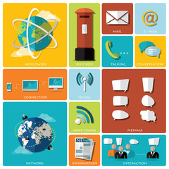 Communication And Connection Flat Icon Set
