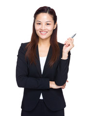 Asian business woman with pen