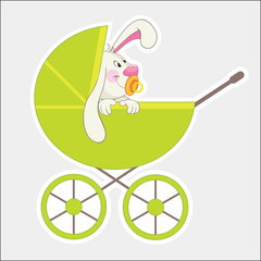 Rabbit in the baby carriage