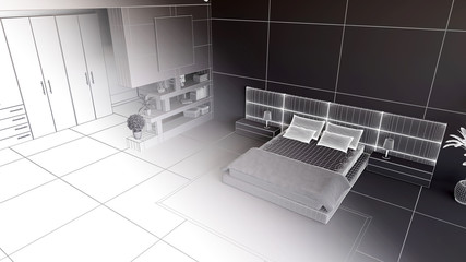 3D render of a bedroom in wireframe