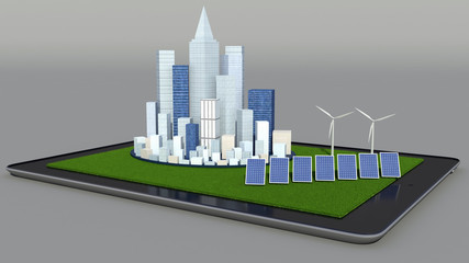 Alternative energy. Solar panel, wind turbine and city