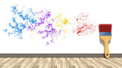 brush against the wall and colorful splashes