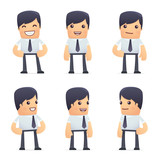 Fototapety set of businessman character in different poses