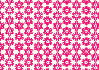 Red Vintage Flower and Circle Shape Pattern on Pastel Background