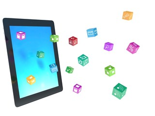 tablet pc with color application icons