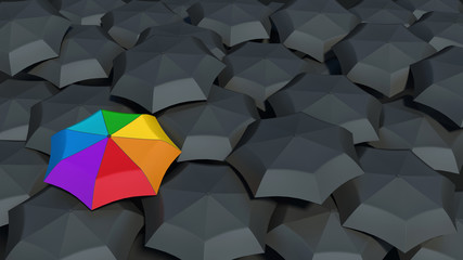 umbrella with rainbow colors against the black umbrellas