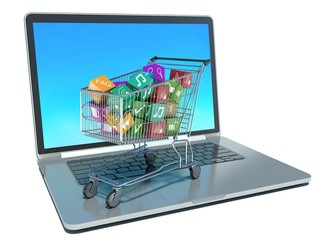 illustration of shopping cart with media boxes on laptop