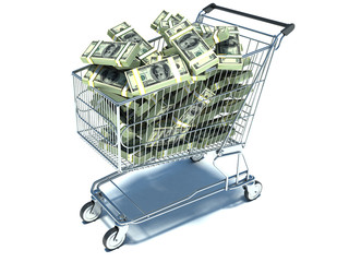 Shopping cart with dollar note. Waste of money
