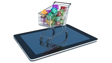 illustration of shopping cart with media boxes on tablet pc