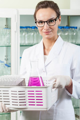 Female chemist working in laboratory