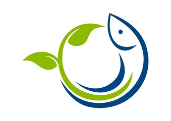 natural food fresh leaf fish logo