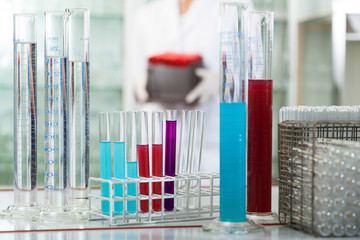 Test tubes in rack wit colorful liquids