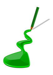 yeşil kalemden akan boya