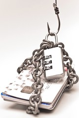 security lock with password and hooks on chained credit cards