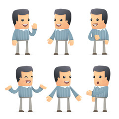 set of customer character in different poses