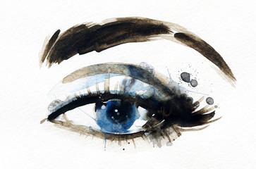 Woman eye . Hand painted fashion illustration