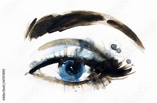 Papiers peints Portrait Aquarelle Woman eye . Hand painted fashion illustration