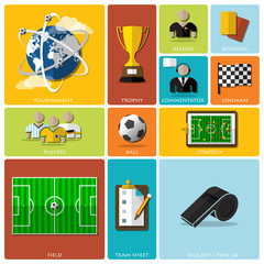 Football Tournament And Sport Flat Icon Design