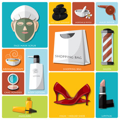 Woman Beauty And Lifestyle Flat Icon Set