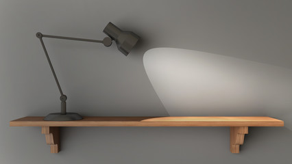 Light shines on an empty wooden shelf