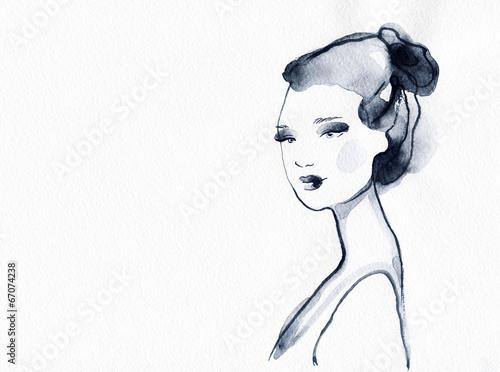 Papiers peints Portrait Aquarelle woman portrait .abstract watercolor