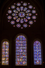 Stained-glass windows in Cathedral Chartres France