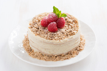 delicious cake with custard and raspberry