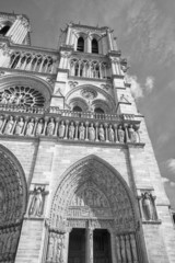 notre dame paris cathedral external view in black and white