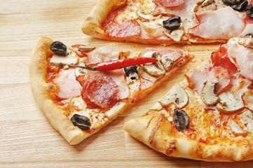 Slice of italian hot pizza