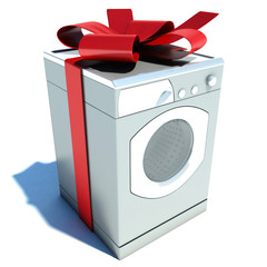 Washer and red tape. gift