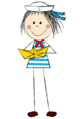 Funny girl wearing sailor costume