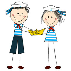 Funny kids wearing sailor costume