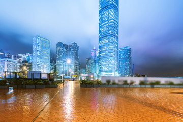the light trails on the modern building background in hongkong c