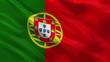 Flag of Portugal waving in the wind - seamless loop