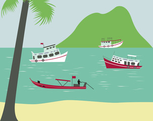 Boats on tropical beach. Vector