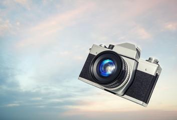 retro camera sky