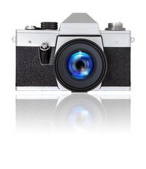 SLR camera on white