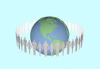 手を繋ぐ人と地球