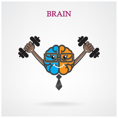 Creative left and right brain sign with the barbell on backgroun